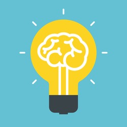 Light bulb idea. Concept of brain.