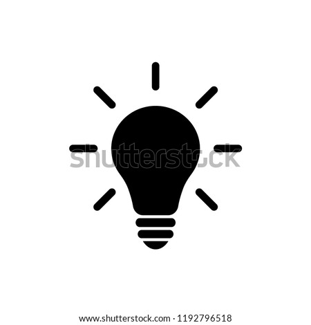 Light bulb idea concept vector icon. Lightbulb with rays glowing flat glyph icon.