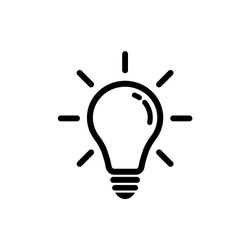 Light bulb idea concept vector icon. Lightbulb with rays glowing icon.