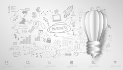 Light bulb Idea. plan think analyze creative startup business. illustration Creativity modern Concept Vector Infographic template.