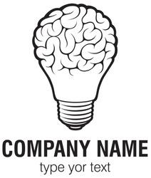 Light bulb idea with brain vector logo template. Corporate icon such as logotype. Creative light bulb idea brain vector.