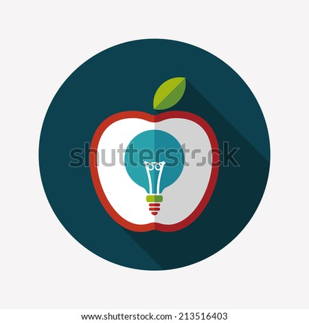 light bulb in apple flat icon