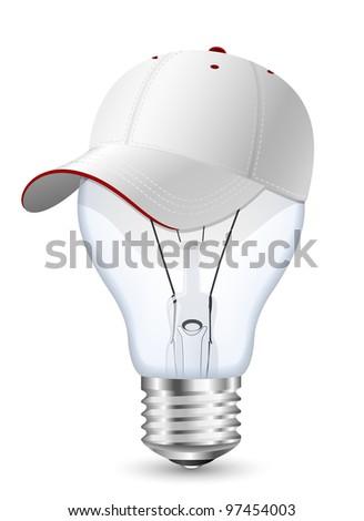 Light bulb in the baseball cap. Conceptual vector illustration - stock vector