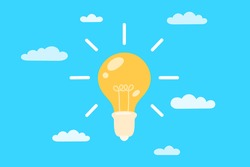Light bulb in the clouds against the sky. The concept of a creative idea, insight, problem solving. Vector illustration in flat style