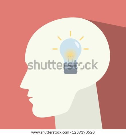 Light bulb in the head. Idea symbol Zdjęcia stock ©