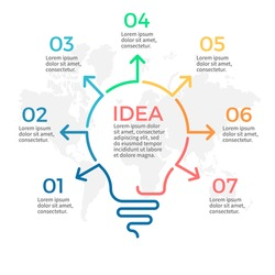 Light bulb infographic. Idea chart with 7 steps, parts.