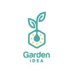 Light Bulb Leaf Garden Plant Innovation Hexagon Logo design