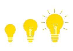 Light bulb 3 levels on blue Background. New Mindset New Results. Creative brainstorm concept, business and education idea.