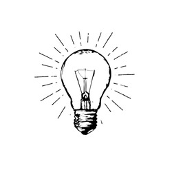 Light bulb line hand drawing sign. Illustration for print, web