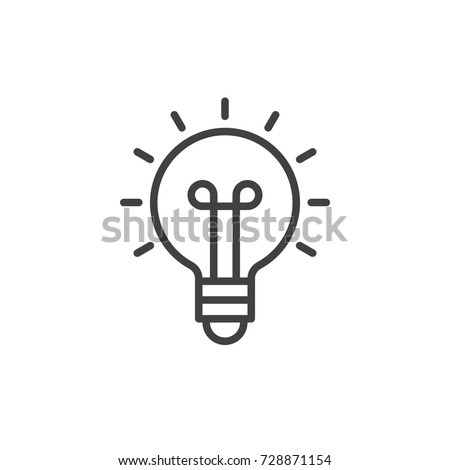 Light bulb line icon, outline vector sign, linear style pictogram isolated on white. Idea symbol, logo illustration. Editable stroke