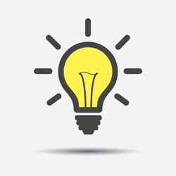 Light bulb line icon vector, isolated on white background. Idea sign, solution, thinking concept. Lighting Electric lamp illustration in flat style for graphic design, web site.