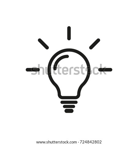 Light Bulb line icon vector, isolated on white background. Idea sign, solution, thinking concept. Lighting Electric lamp. Electricity, shine. Trendy Flat style for graphic design, Web site