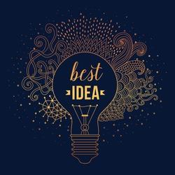 Light bulb made of handdrawn doodles, creative concept. Vector concept - creativity and idea. Lettering. quote. Creative light bulb, Big idea, Creative Research