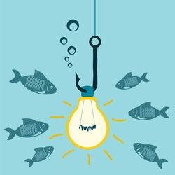 Light bulb on a fishing hook, underwater lights, bait for fish. Attracting investors, shocking, study of the underwater world.