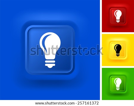 Light Bulb on Blue Bevel Square Button - Shutterstock ID 257161372