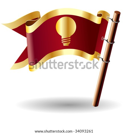 Light bulb or idea icon on red and gold vector flag good for use on websites, in print, or on promotional materials - stock vector