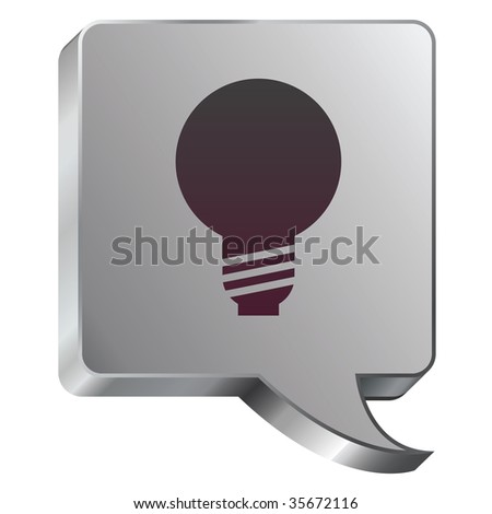 Light bulb or idea icon on stainless steel modern industrial voice bubble icon suitable for use as a website accent, on promotional materials, or in advertisements.