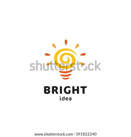Light Bulb Original Simple Minimal Symbol Containing Sun Image. Memorable Visual Metaphor. Represents Concept of Creativity, Genesis & Development of Bright Ideas, Eureka, Effective Thinking etc.