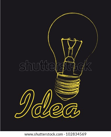 light  bulb over black background, idea. vector illustration