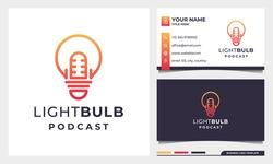 Light Bulb Podcast mic logo design, creative Smart Podcast Logo Inspiration with business card template