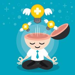Light bulb positive with wing flying freedom from businessman meditation. Building positive idea concept. Cartoon flat design. Vector illustration