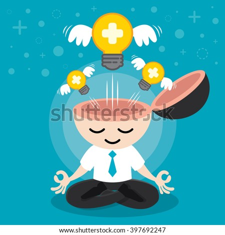 Light bulb positive with wing flying freedom from businessman meditation. Building positive idea concept. Cartoon flat design. Vector illustration