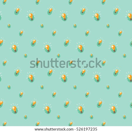 Light bulb seamless pattern. Eureka lamp. New idea for business concept. Colorful vector illustration