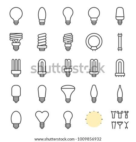 Light bulb set, creation kit outline icon