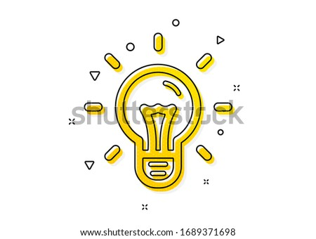 Light bulb sign. Idea icon. Copywriting symbol. Yellow circles pattern. Classic idea icon. Geometric elements. Vector