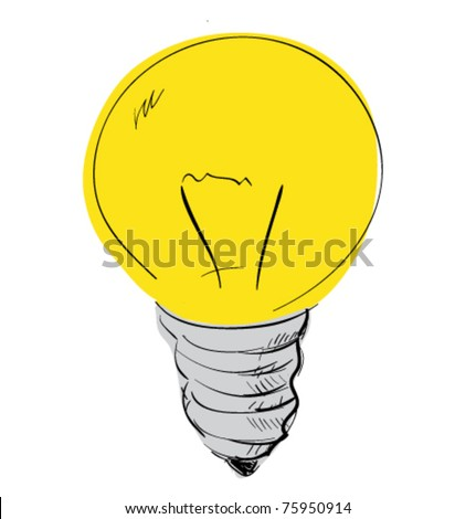 Light bulb sketch cartoon vector illustration