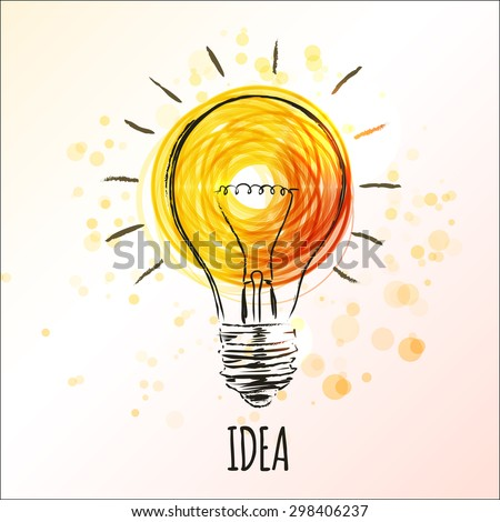 Light bulb sketch with concept of idea. Doodle hand drawn sign. Vector Illustration