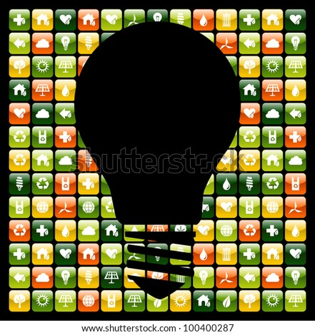 Light bulb symbol over global mobile phone green apps icon background. Vector file available.