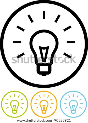 Light bulb - Vector icon isolated on white - stock vector