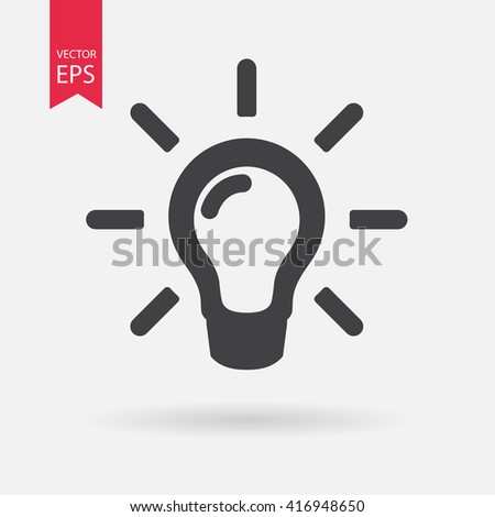 Light bulb vector icon isolated on white background. Idea, solution sign, concept. Trendy Flat style for graphic design, Web site, UI. EPS10