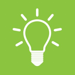Light bulb vector icon on green background