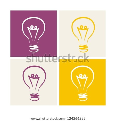 Light bulb vector icon symbol on colorful backgrounds - hand drawn doodle set isolated. Sign of creative thinking and invention
