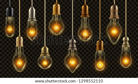light bulb vintage set vector