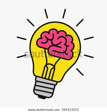 Light bulb with a brain inside, creating ideas, creative concept