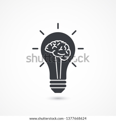 Light bulb with a brain inside, creating ideas, creative mind concept. Knowledge icon.  Advanced ideas, advanced solutions sign