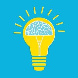 Light bulb with a brain inside, Creative brainstorm concept, business and education idea.