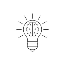 Light bulb with a brain inside line icon