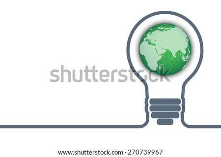 light bulb with a world globe