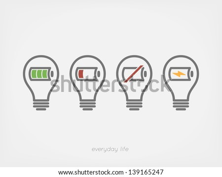 light bulb with battery icon