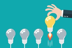 Light bulb with business hand. Choose best idea concept. Flat and minimal design. Vector illustration.