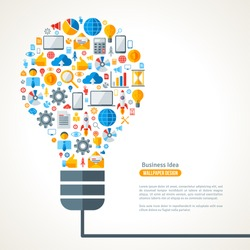 Light Bulb with Business Icons Pattern. Vector Illustration.