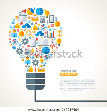 light bulb with business icons...
