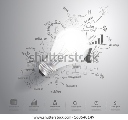 Light bulb with drawing business success strategy plan idea, Inspiration concept modern design template workflow layout, diagram, step up options, Vector illustration