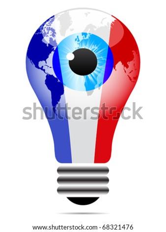 light bulb with france flag