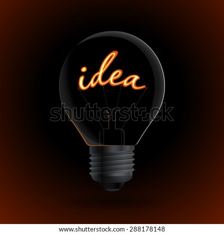 Light bulb with Idea sign on a dark background. Great idea concept. #288178148