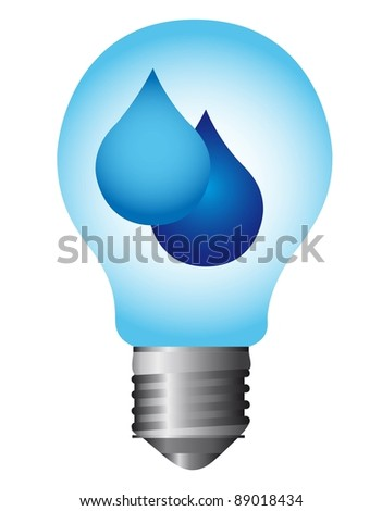 light bulb with raindrops isolated over white background. vector